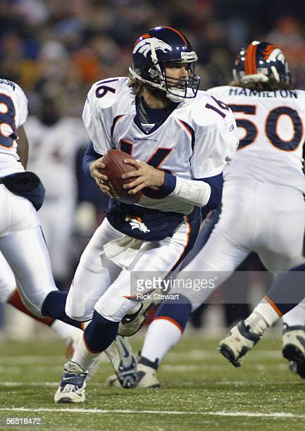 Jake Plummer of the Denver Broncos drops back to throw during the game with the Buffalo Bills on December 17, 2005 at Ralph Wilson Stadium in Orchard...