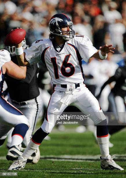 Jake Plummer of the Denver Broncos passes the ball against the Oakland Raiders during the NFL game on November 13 2005 at McAfee Stadium in Oakland...