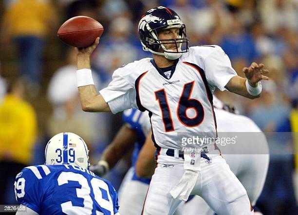 Jake Plummer of the Denver Broncos throws the ball against the Indianaplois Colts on December 21 2003 at the RCA Dome in Indianapolis Indiana