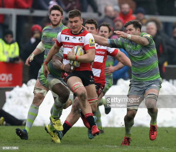 Jake Polledri of Gloucester breaks with the ball during the Aviva Premiership match between Gloucester Rugby and Newcastle Falcons at Kingsholm...