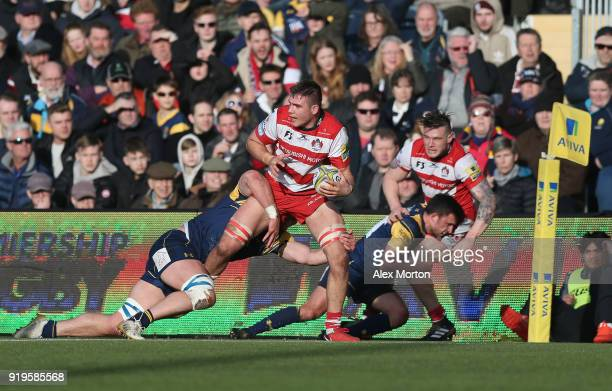Jake Polledri of Gloucester during the Aviva Premiership match between Worcester Warriors and Gloucester Rugby at Sixways Stadium on February 17 2018...