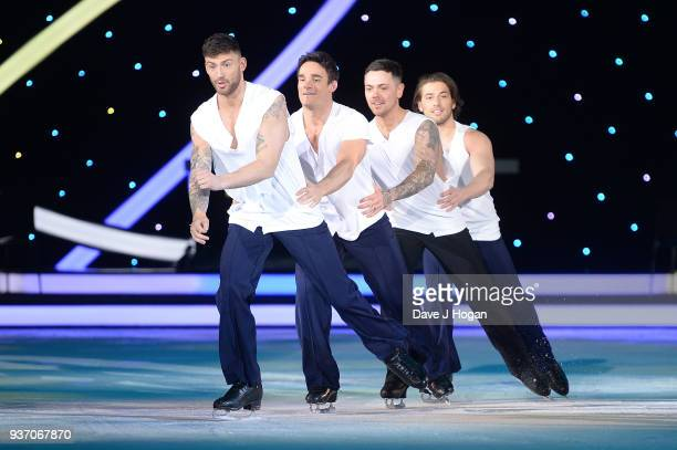 Jake Quickenden Max Evans Ray Quinn Kem Cetiny during the Dancing on Ice Live Tour Dress Rehearsal at Wembley Arena on March 22 2018 in London...