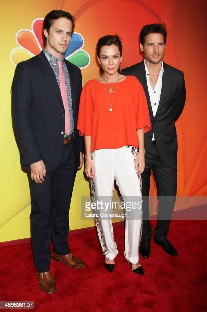 Jake Robinson, Anna Friel and Peter Facinelli attend the 2014 NBC Upfront Presentation at The Jacob K. Javits Convention Center on May 12, 2014 in...
