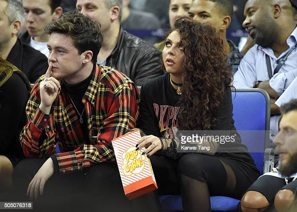 Jake Roche and Jesy Nelson attend the Orlando Magic vs Toronto Raptors NBA Global Game at The O2 Arena on January 14 2016 in London England