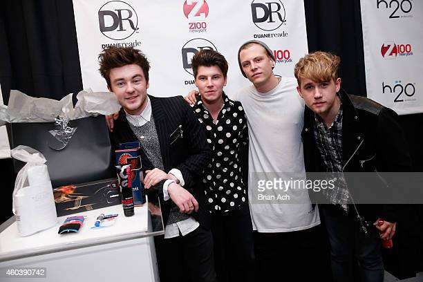 Jake Roche, Charley Bagnall, Lewi Morgan and Danny Wilkin of Rixton attend the Z100's Artist Gift Lounge presented by Goldfish Puffs at Z100's Jingle...