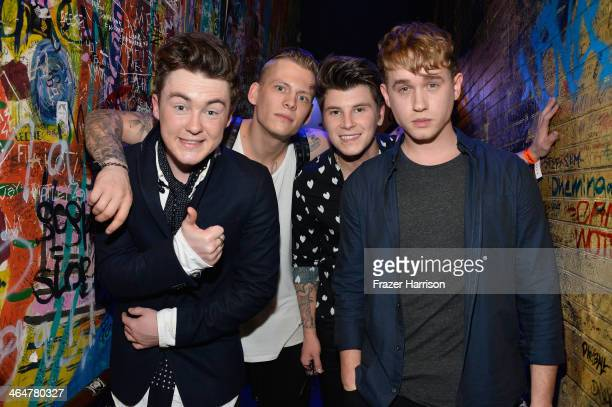 """Jake Roche, Lewi Morgan, Charley Bagnall and Danny Wilkin of Rixton backstage at MTV's 2014 """"Artist To Watch"""" Kickoff Event at the House of Blues..."""