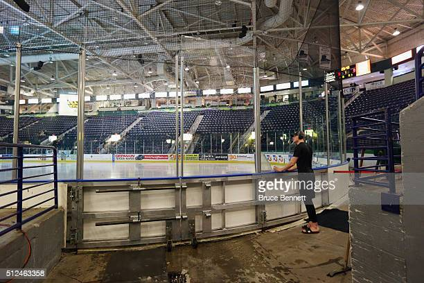 Jake Rodewald of Orlando Solar Bears surveys the arena prior to the game against the Florida Everblades at the Germain Arena on February 10 2016 in...