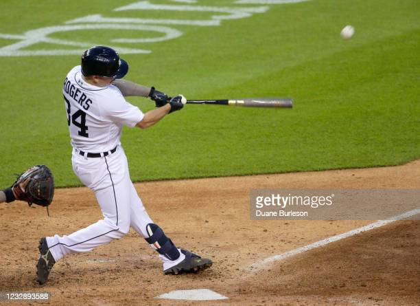 Jake Rogers of the Detroit Tigers hits a solo home run against the Chicago Cubs during the sixth inning at Comerica Park on May 14 in Detroit,...