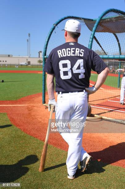 Jake Rogers of the Detroit Tigers stands at the batting cage during Spring Training workouts at the TigerTown Facility on February 16 2018 in...