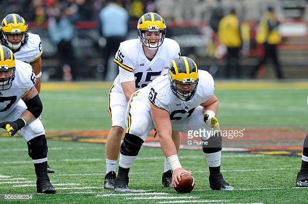 Jake Rudock of the Michigan Wolverines calls a play during the game against the Maryland Terrapins at Byrd Stadium on October 3 2015 in College Park...