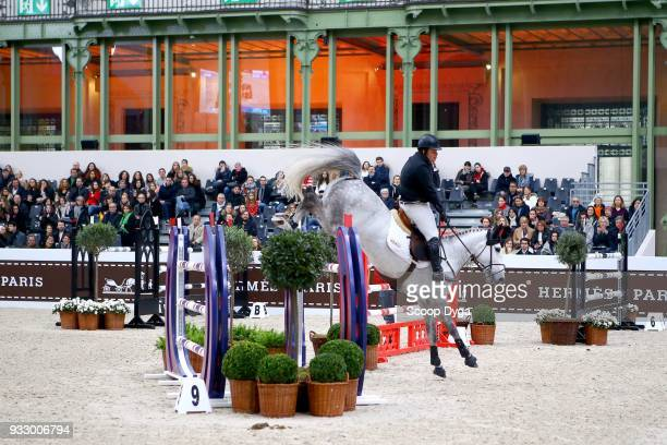 Jake SAYWELL and Havinia Van De Roshoeve competes in the Talents Hermes CSIU25 of Le Saut Hermes 2018 at Grand Palais on March 16 2018 in Paris France