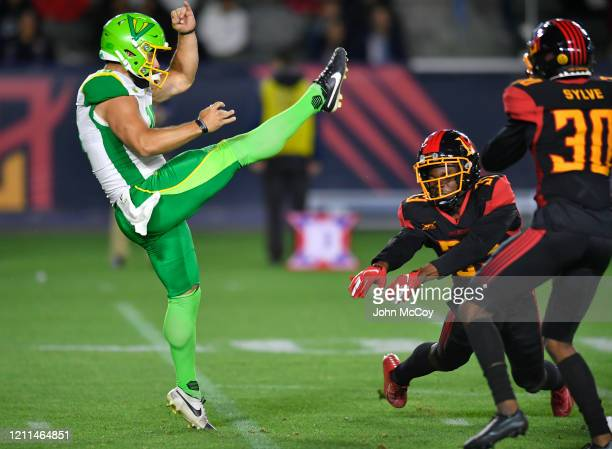 Jake Schum of the Tampa Bay Vipers punts the ball against the LA Wildcats at Dignity Health Sports Park during an XFL game on March 8 2020 in Carson...