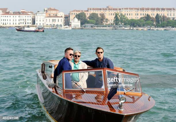 Jake Scott Giancarlo Giannini and Jude Law arrive at the Cipriani Hotel during Venice Film Festival to showcase short film The Gentleman's Wager in...