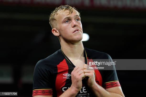 Jake Scrimshaw of AFC Bournemouth reacts after the FA Youth Cup Sixth Round Match between AFC Bournemouth U18 and Manchester City U18 at Vitality...