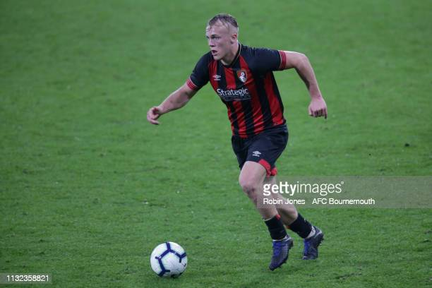 Jake Scrimshaw of Bournemouth controls the ball during the FA Youth Cup match between AFC Bournemouth U18 and Manchester City U18 at Vitality Stadium...