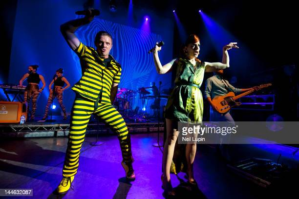 Jake Shears Ana Matronic and Del Marquis of the Scissor Sisters perform on stage at Shepherds Bush Empire on May 16 2012 in London United Kingdom