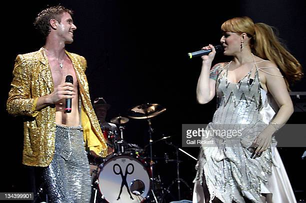 Jake Shears and Ana Matronic of Scissor Sisters during Scissor Sisters in Concert October 23 2004 at Apollo Manchester in Manchester Great Britain
