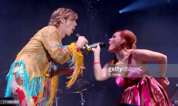Jake Shears and Ana Matronic of Scissor Sisters during V Festival 2005 Weston Park Day One at Weston Park in Lichfield Staffordshire Great Britain