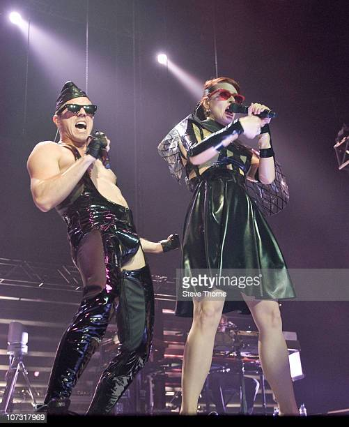 Jake Shears and Ana Matronic of Scissor Sisters perform on stage at LG Arena on December 3 2010 in Birmingham England