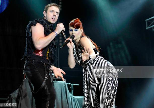 Jake Shears and Ana Matronic of Scissor Sisters perform on stage at the Pyramid Rock Festival on the 31st December 2011 at Phillip Island in Australia