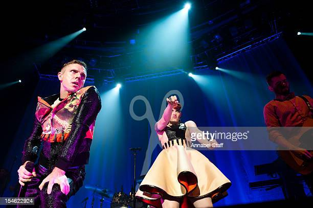Jake Shears and Ana Matronic of Scissor Sisters perform on stage at The Roundhouse on October 23 2012 in London United Kingdom