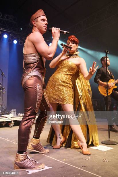 Jake Shears and Ana Matronic of Scissor Sisters perform on stage during Bonnaroo 2011 at This Tent on June 11 2011 in Manchester Tennessee