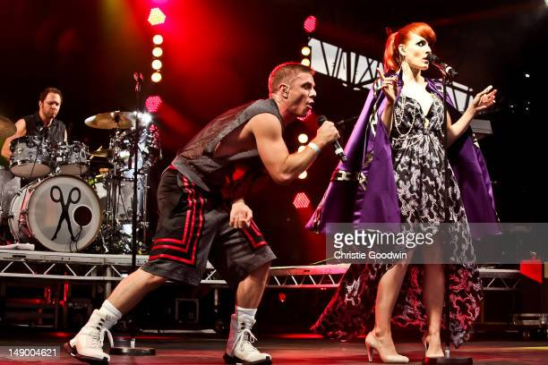 Jake Shears and Ana Matronic of Scissor Sisters perform on the America stage on Day 1 of BT River Of Music Festival at Tower of London on July 21...
