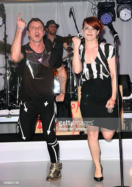 Jake Shears and Ana Matronic of the Scissor Sisters are seen performing at Design Miami 2011 designer of the year dinner at Moore Building on...