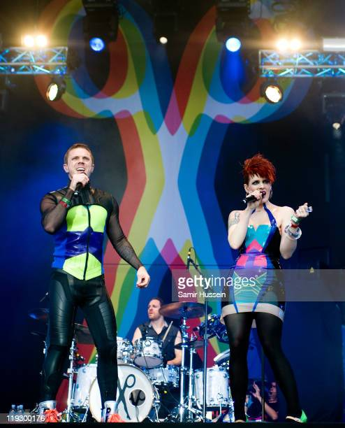 Jake Shears and Ana Matronic of the Scissor Sisters perform on day 3 of Lovebox on July 17 2011 in Victoria Park in London England