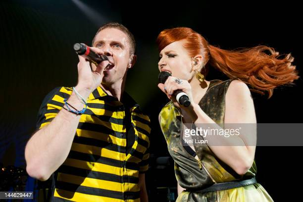 Jake Shears and Ana Matronic of the Scissor Sisters perform on stage at Shepherds Bush Empire on May 16 2012 in London United Kingdom