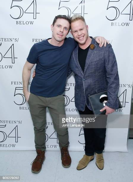 Jake Shears and Andrew Werner pose backstage during the Luann De Lesseps cabaret debut at Feinstein's/54 Below on February 27 2018 in New York City