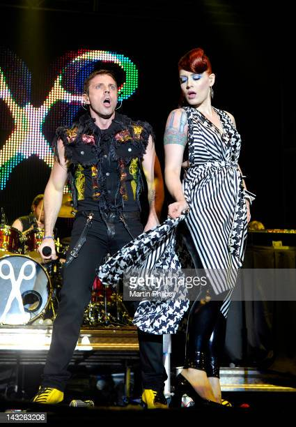 Jake Shears and Anna Matronic of Scissor Sisters perform on stage at the Pyramid Rock Festival on the 31st December 2011 at Phillip Island in...