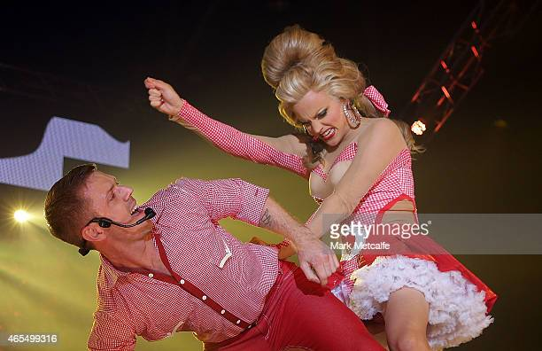 Jake Shears and Courtney Act perform on stage during Mardi Gras Party at the Entertainment Quarter on March 7 2015 in Sydney Australia