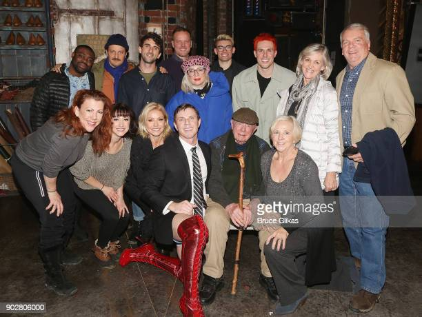 Jake Shears and Kelly Ripa pose with famiy and friends backstage as Jake Shears of the rock group 'The Scissor Sisters' makes his Broadway debut in...