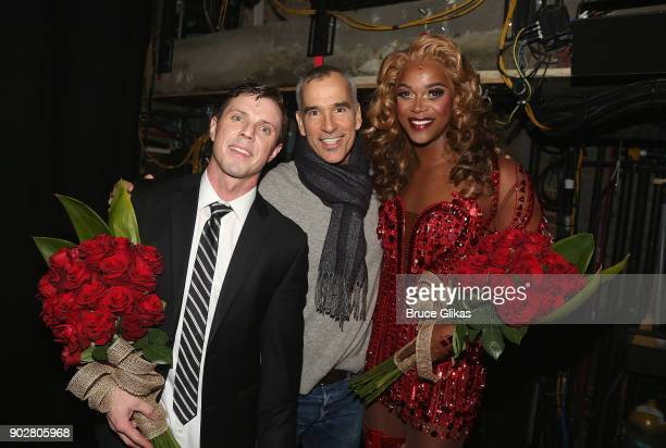 Jake Shears as 'Charlie Price' Director/Choreographer Jerry Mitchell and J Harrison Ghee as 'Lola' pose backstage as Jake Shears of rock group 'The...