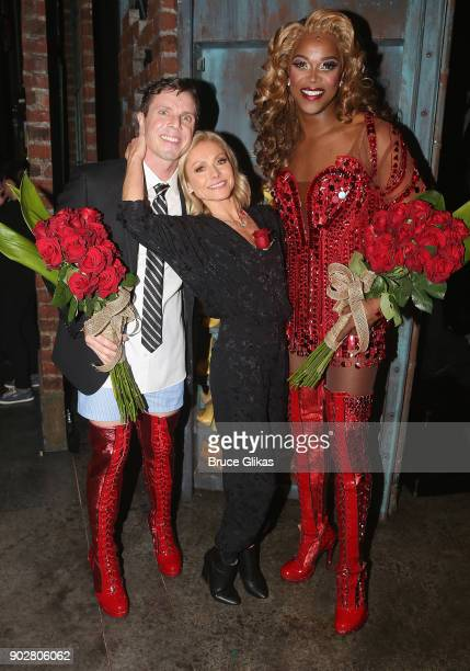 Jake Shears as 'Charlie Price' Kelly Ripa and J Harrison Ghee as 'Lola' pose backstage as Jake Shears of rock group 'The Scissor Sisters' makes his...