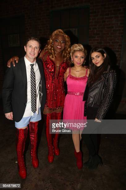 Jake Shears as 'Charlie' Wayne Brady as 'Lola' Kirstin Maldonado as 'Lauren' and Victoria Justice pose backstage at the hit musical 'Kinky Boots' on...