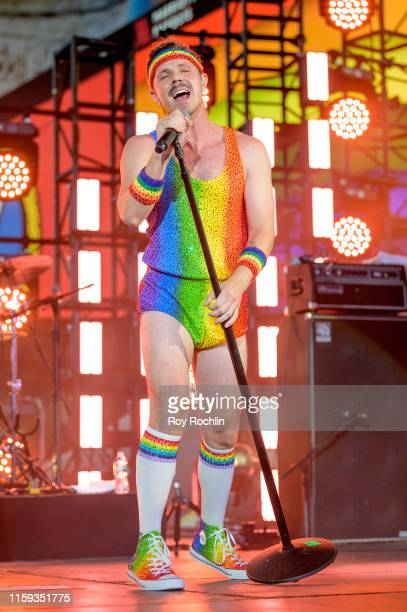 Jake Shears performs during the Closing Ceremony of WorldPride NYC 2019 at Times Square on June 30 2019 in New York City
