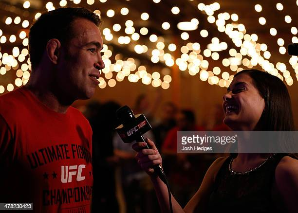 Jake Shields is interviewed by UFC reporter Megan Olivi after an open training session for fans and media at Gilley's Dallas on March 12 2014 in...