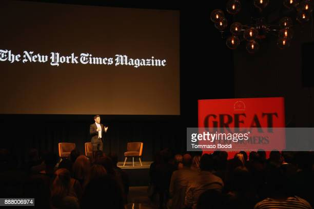 Jake Silverstein speaks onstage at The New York Times Magazine Celebrates The Great Performers Issue 2017 on December 7 2017 in Los Angeles California
