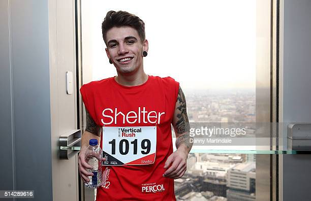 Jake Sims takes part in the Shelter Vertical Rush at Tower 42 on March 8 2016 in London England