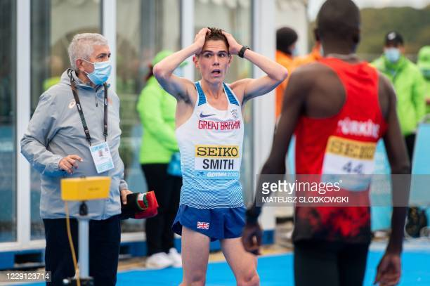 Jake Smith of Great Britain reacts after placing 18th in the men's race of the 2020 IAAF World Half Marathon Championships in Gdynia, Poland, in...
