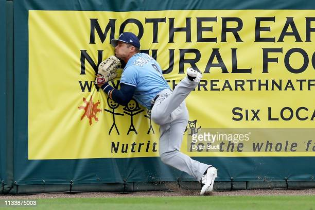 Jake Smolinski of the Tampa Bay Rays hits the wall after making a catch in the second inning against the Minnesota Twins during the Grapefruit League...