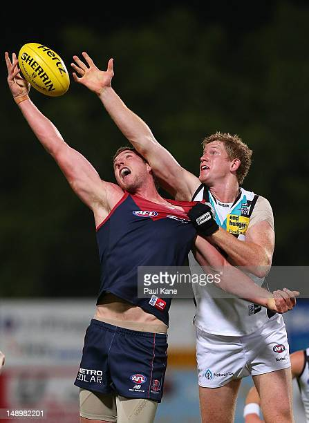 Jake Spencer of the Demons and Matthew Lobbe of the Power contest a boundary throw in during the round 17 AFL match between the Melbourne Demons and...