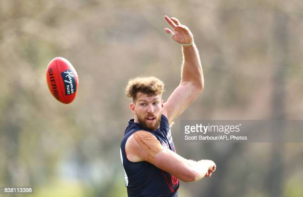 Jake Spencer of the Demons competes for the ball during a Melbourne Demons AFL training session at Gosch's Paddock on August 24 2017 in Melbourne...