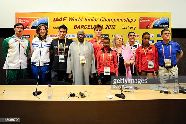 Jake Stein of Australia Alessia Trost of Italy Braian Toledo of Argentina IAAF President Lamine Diack Didac Salas of Spain Faith Chepngetich Kipyegon...
