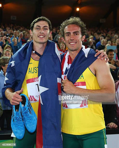 Jake Stein of Australia and Stephen Cain of Australia after the Men's Decathlon at Hampden Park during day six of the Glasgow 2014 Commonwealth Games...