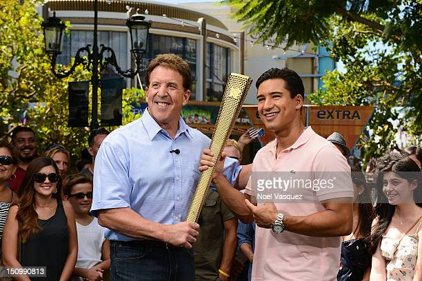 Jake Steinfeld and Mario Lopez visit Extra at The Grove on August 29 2012 in Los Angeles California
