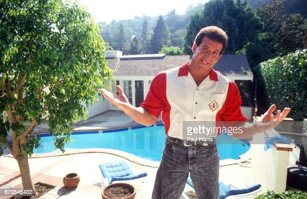 Jake Steinfeld at home is an American fitness specialist and entrepreneur in the fitness training industry known as Body by Jake shows off his pool...
