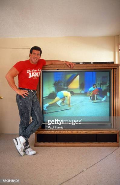 Jake Steinfeld at home is an American fitness specialist and entrepreneur in the fitness training industry known as Body by Jake brand shows his...